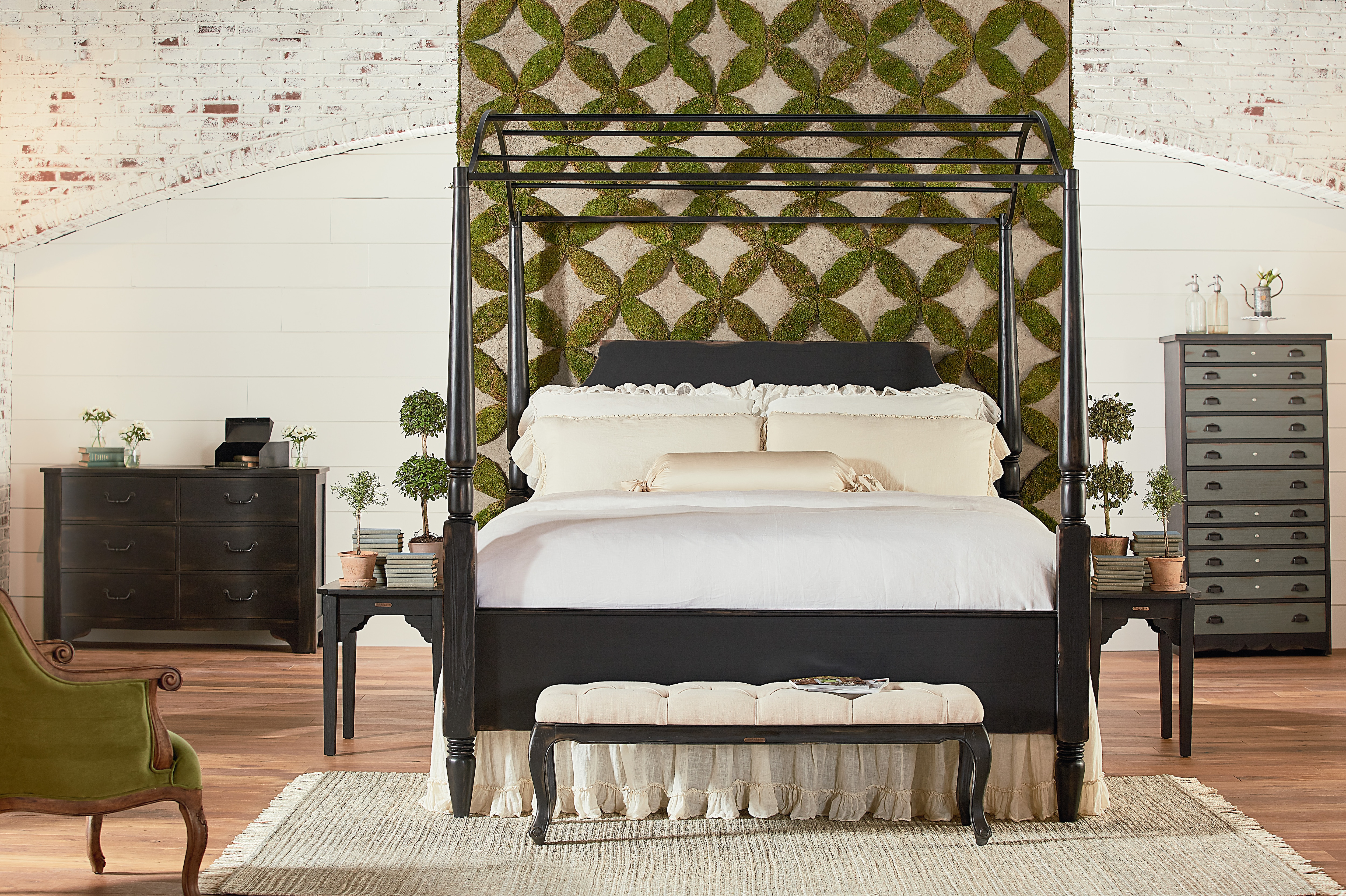 Magnolia Home Farmhouse King Carriage Canopy Bed