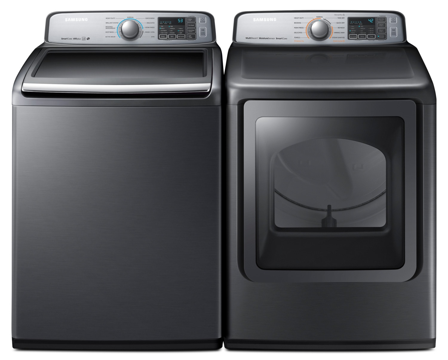 Washers and Dryers - Samsung 5.8 Cu. Ft. Top-Load Washer and 7.4 Cu. Ft. Multi-Steam™ Electric Dryer