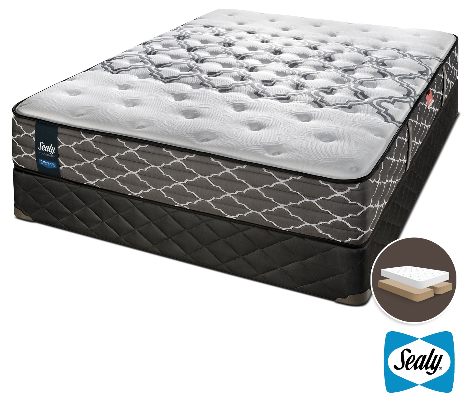 Mattresses and Bedding - Sealy Late Night Hybrid Extra Firm Queen Mattress and Split Boxspring Set