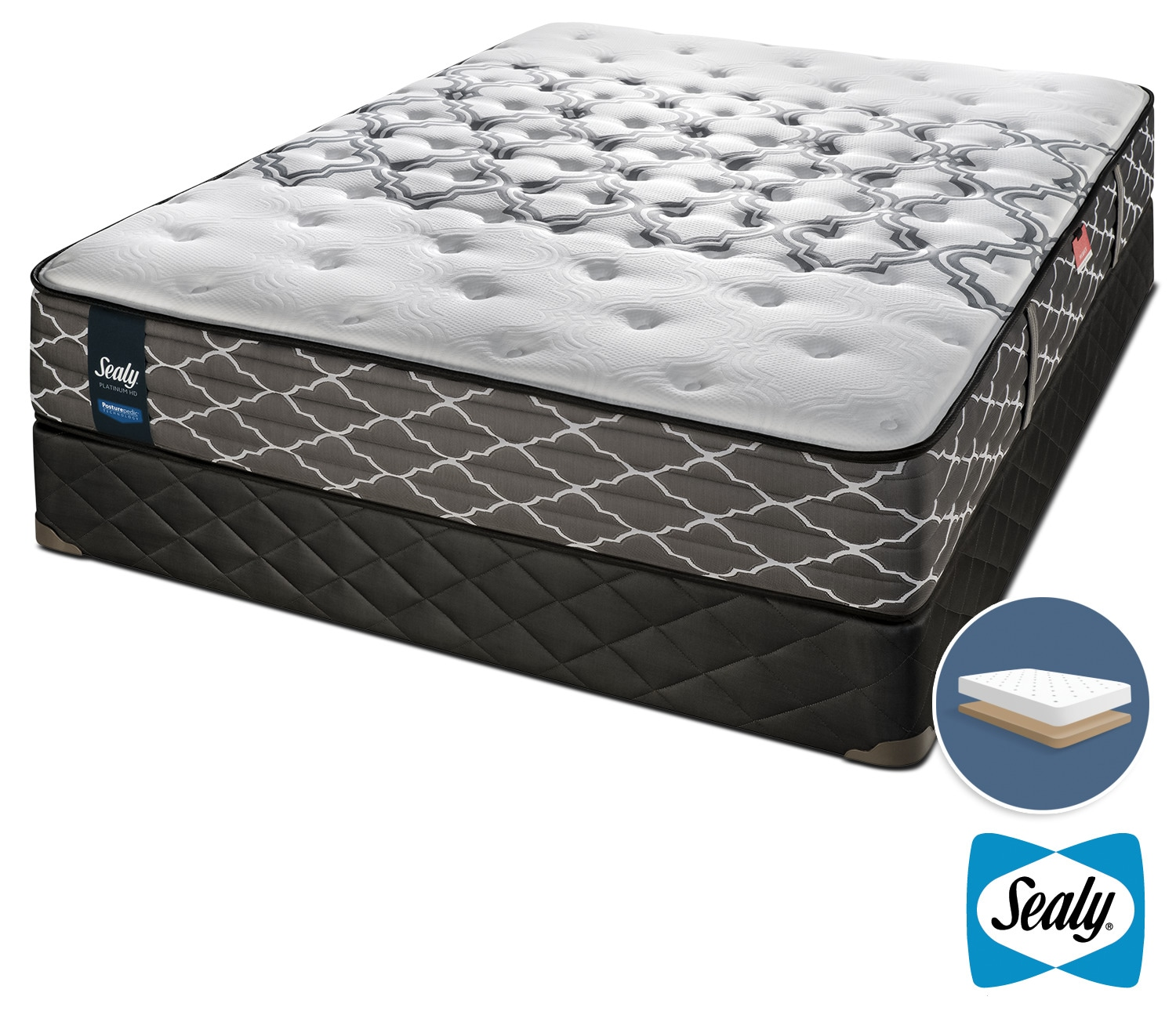 Sealy Late Night Hybrid Extra Firm Queen Mattress and Low-Profile Boxspring Set