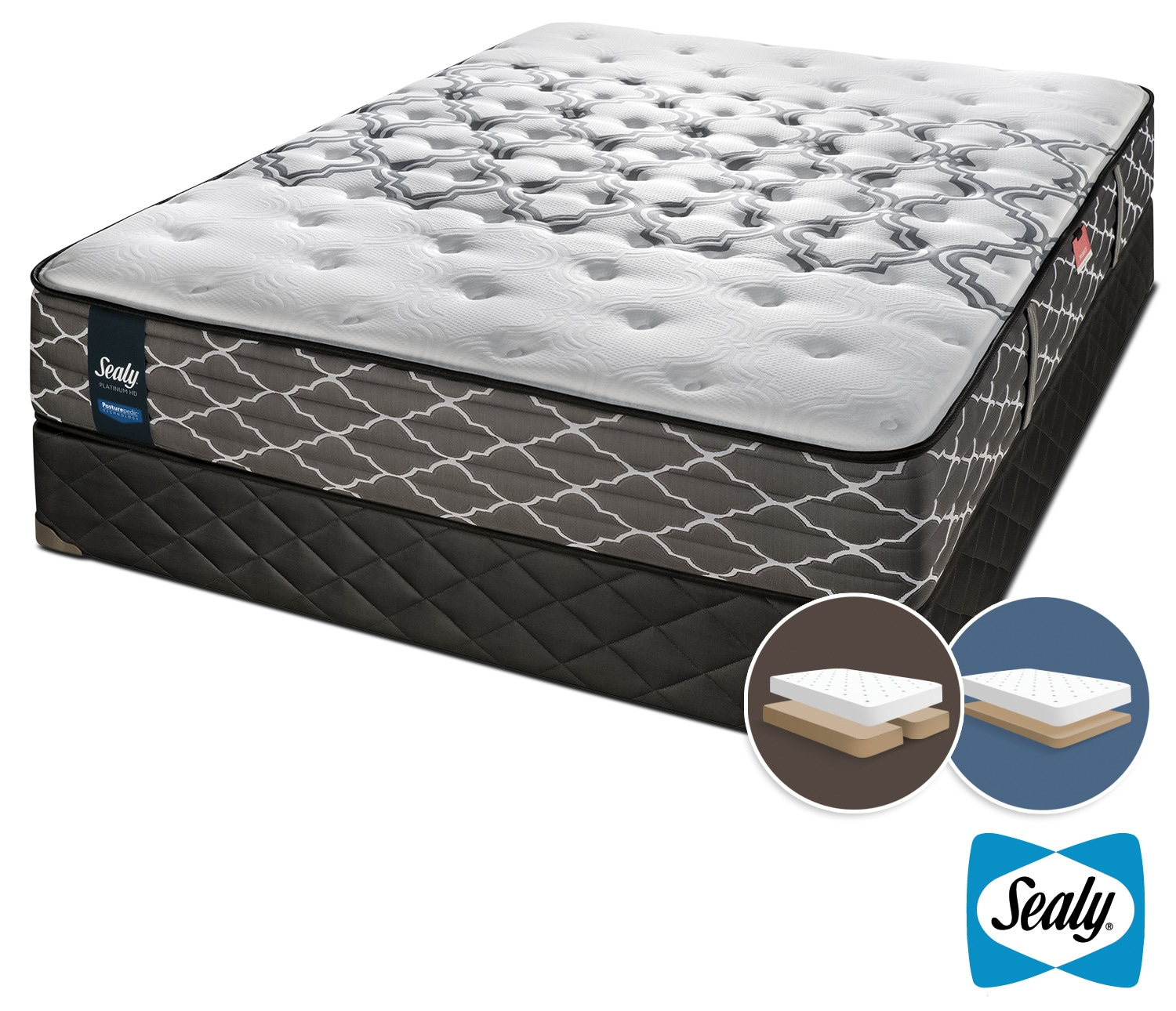 Mattresses and Bedding - Sealy Late Night Hybrid Extra Firm King Mattress and Low-Profile Split Boxspring Set