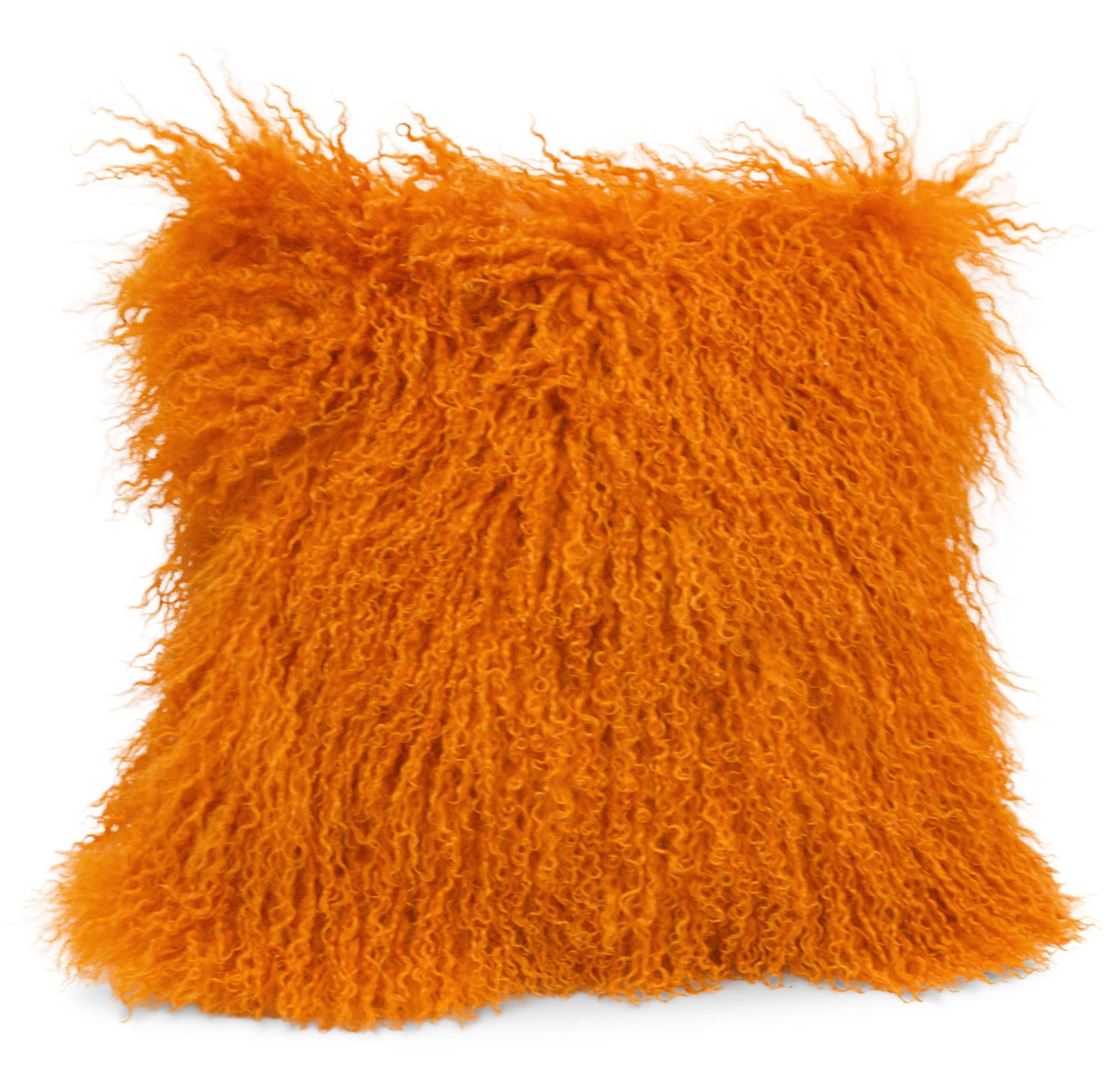 Mongolian Sheepskin Accent Pillow – Orange