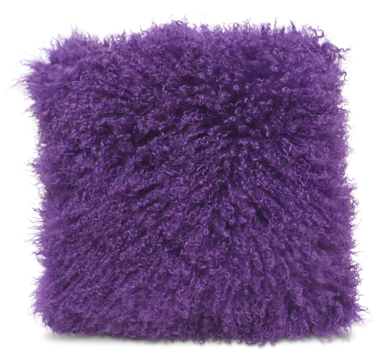 Mongolian Sheepskin Accent Pillow – Purple