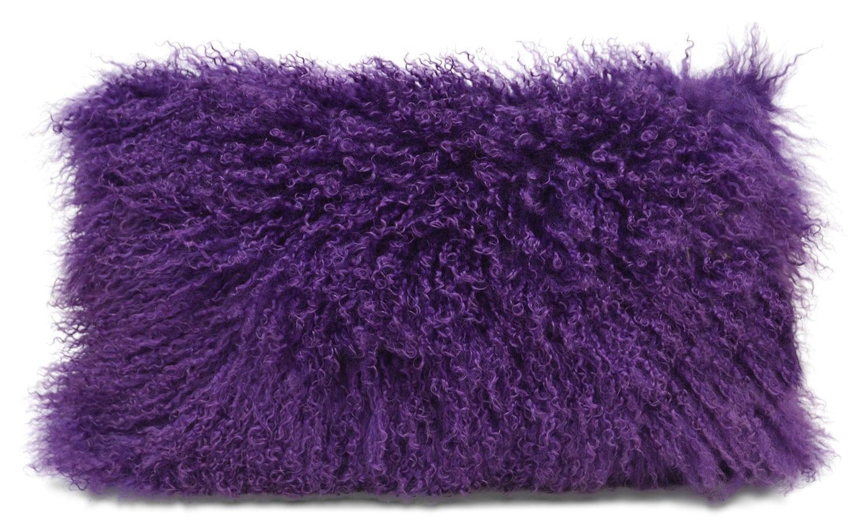 "Mongolian Sheepskin Accent Pillow – Purple 12"" x 20"""