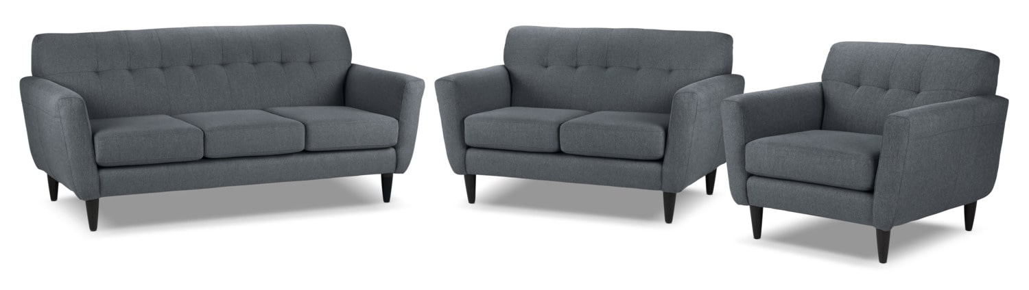 Cobra Sofa, Loveseat and Chair and a Half Set - Charcoal