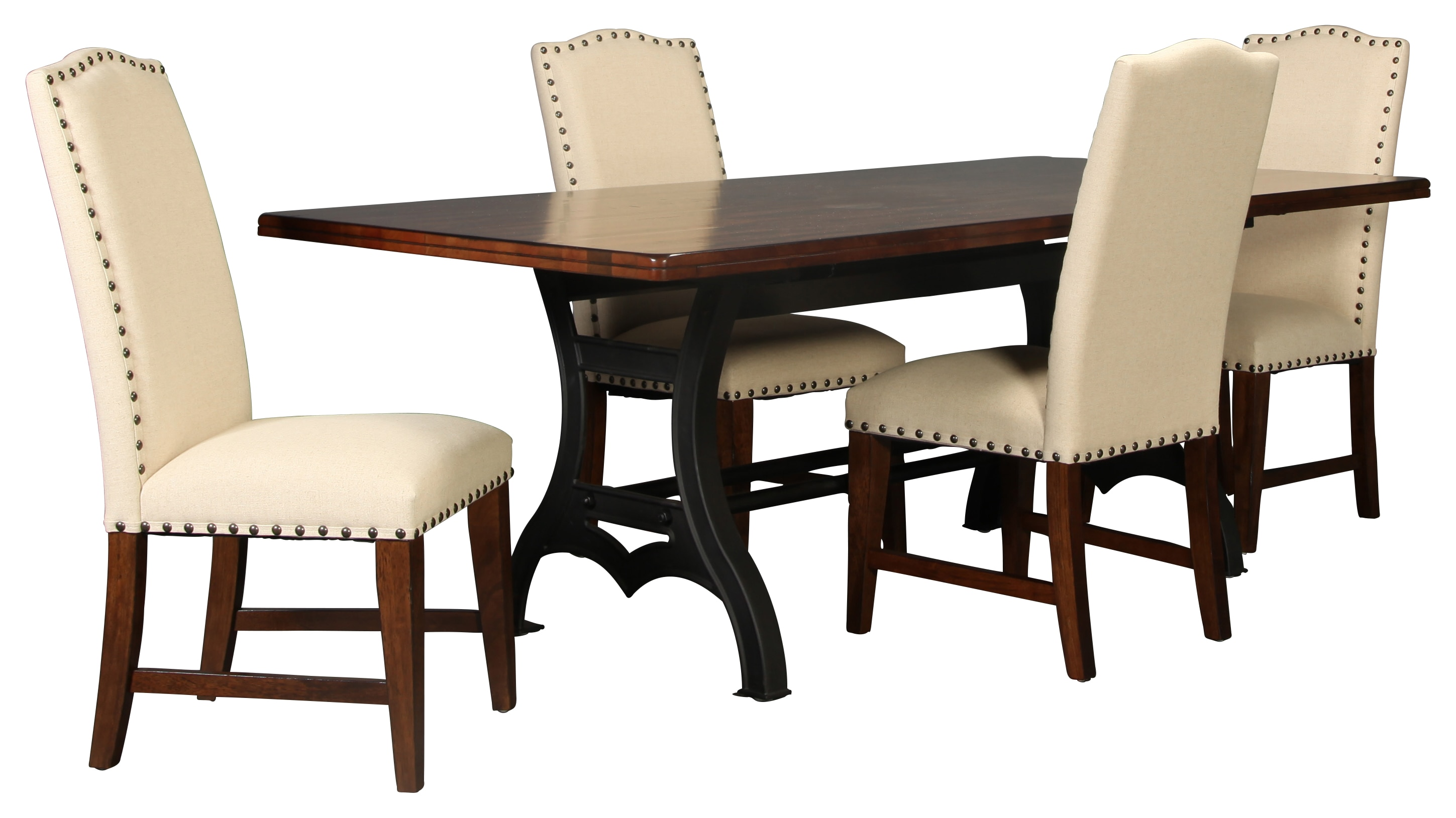 Nora table and 4 upholstered side chairs levin furniture - Side table dining room ...