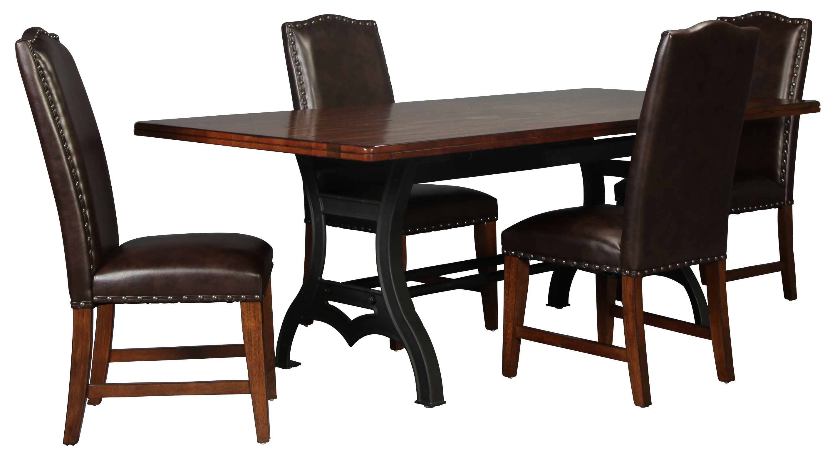 Nora table and 4 bonded leather side chairs levin furniture for Dining room end chairs