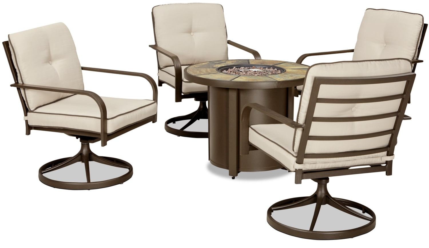 Outdoor Furniture - Predmore 5-Piece Patio Set with Fire Table