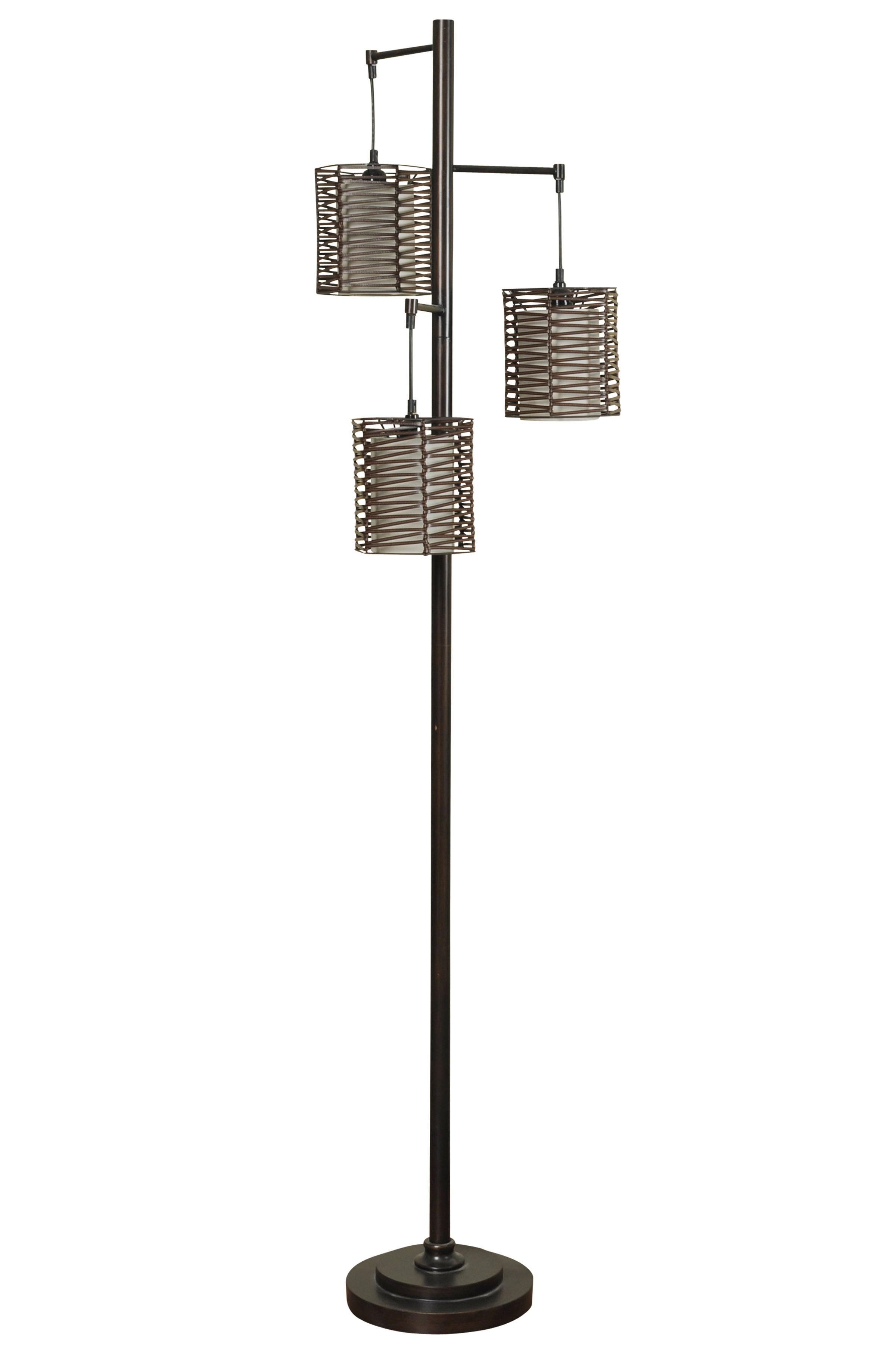 Pandora II 3-Rattan Shade Floor Lamp