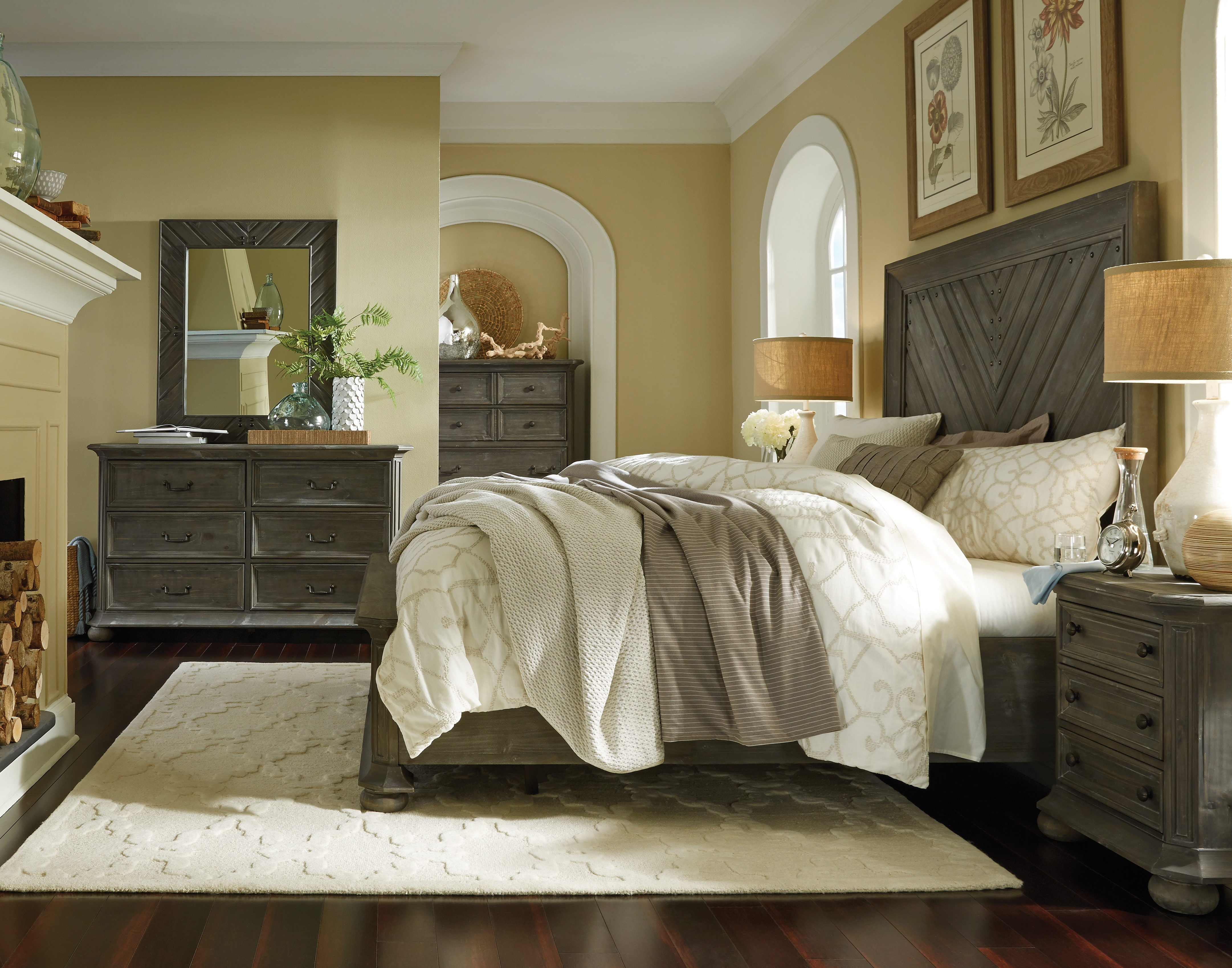 Cheswick 4-Piece King Bedroom Set - Washed Gray