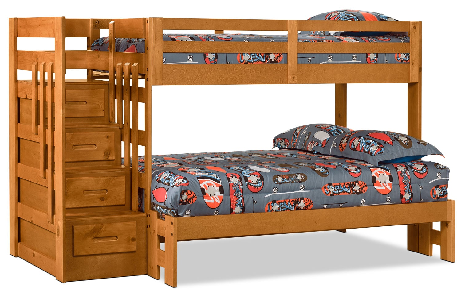 Kids Furniture - Ponderosa Twin/Full Staircase Bunk Bed