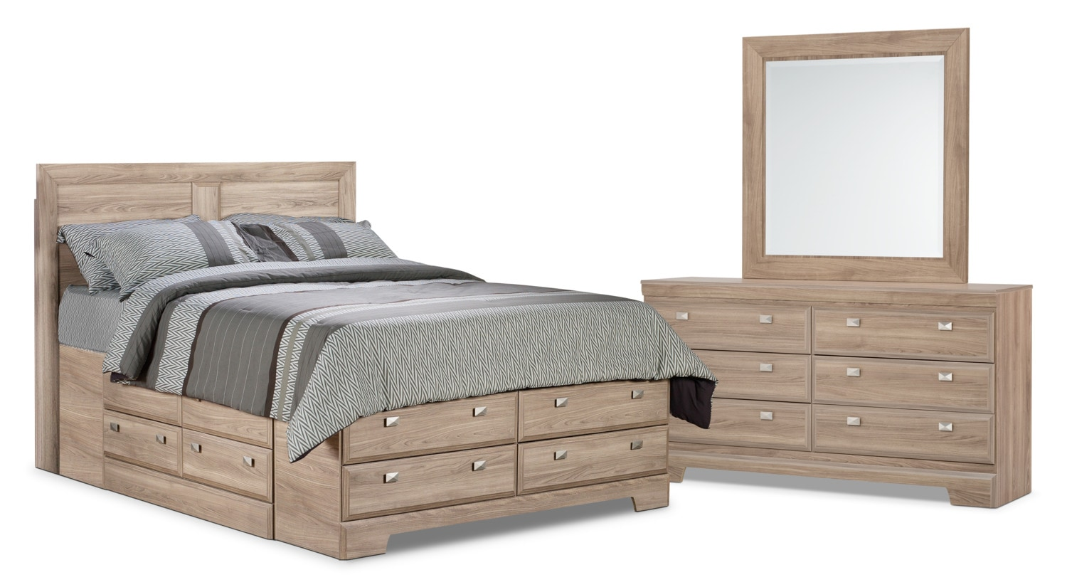 Bedroom Furniture - Yorkdale Light 5-Piece Queen Storage Bedroom Package