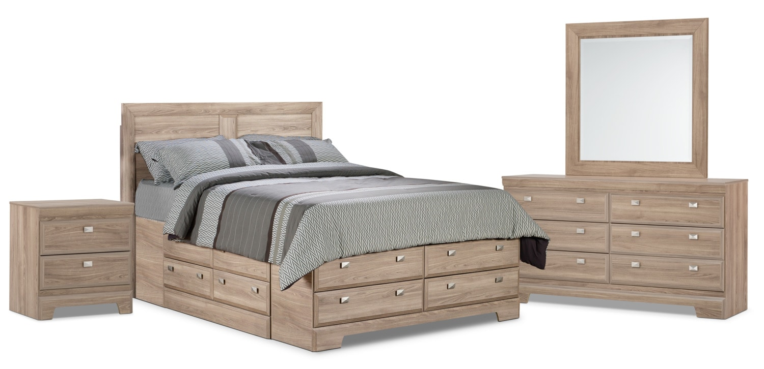 Bedroom Furniture - Yorkdale Light 6-Piece Queen Storage Bedroom Package