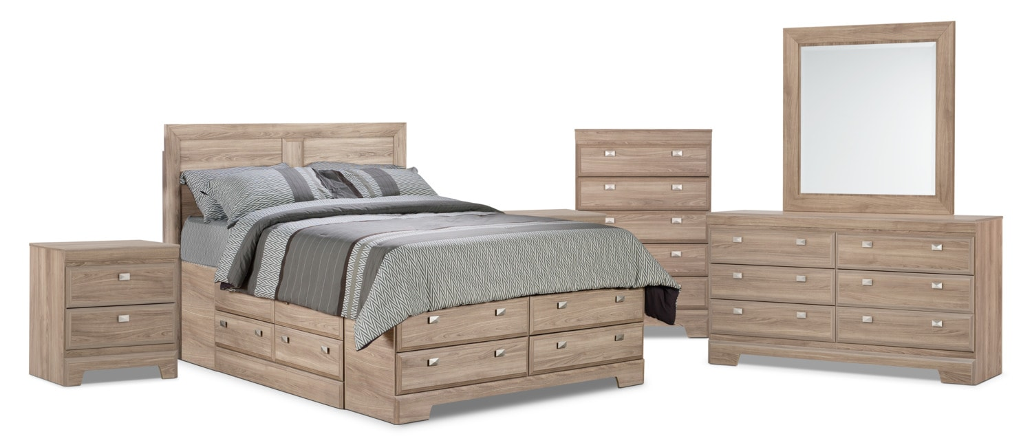 Yorkdale Light 8-Piece Queen Storage Bedroom Package