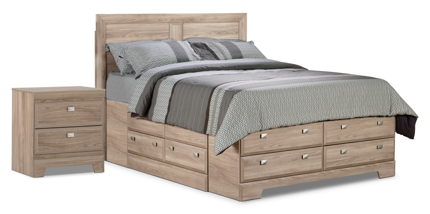 Bedroom Furniture - Yorkdale Light Queen Storage Bed with Nightstand