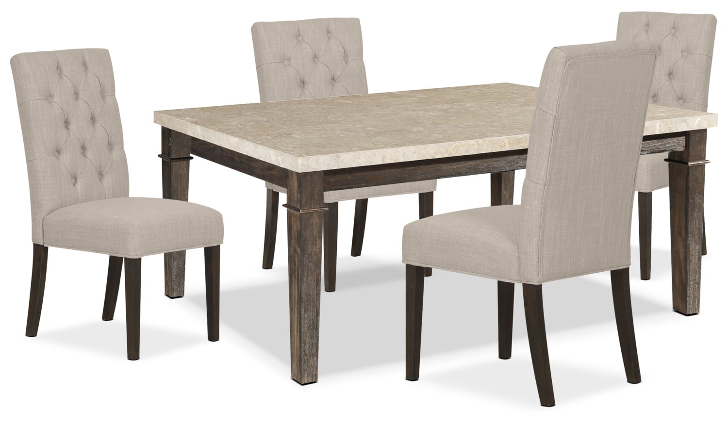 Aldo 5-Piece Dining Package with Caroline Side Chairs