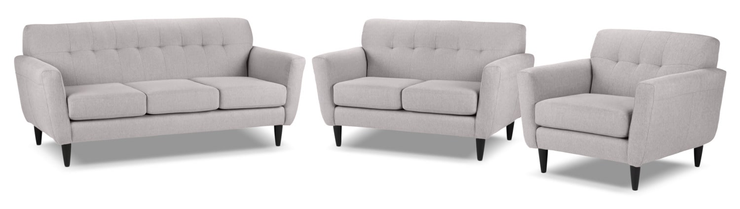 Cobra Sofa, Loveseat and Chair and a Half Set - Grey