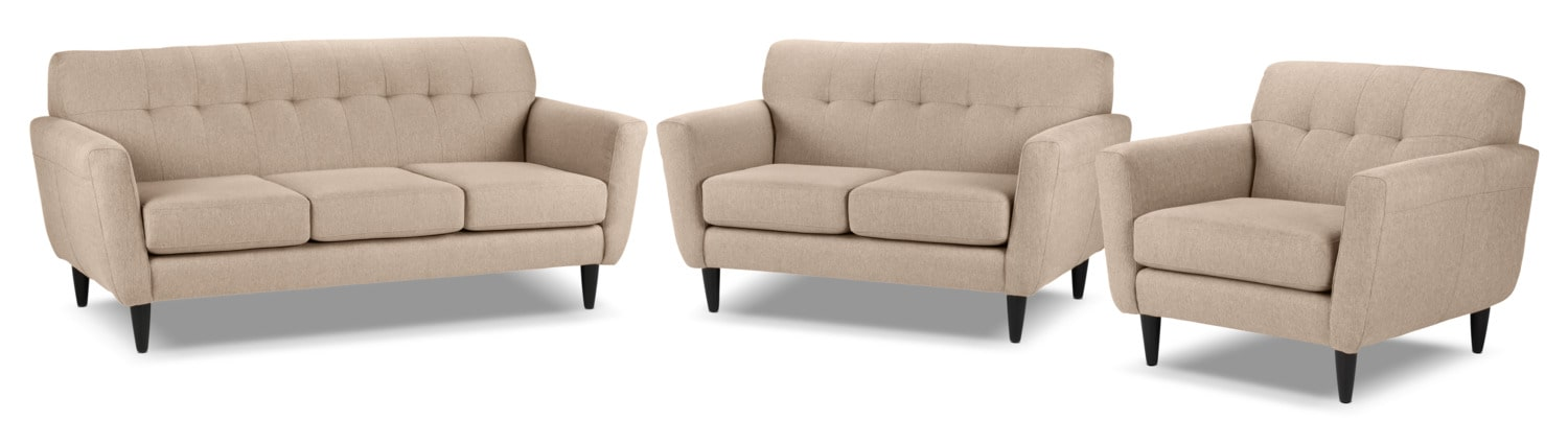 Cobra Sofa, Loveseat and Chair and a Half Set - Taupe