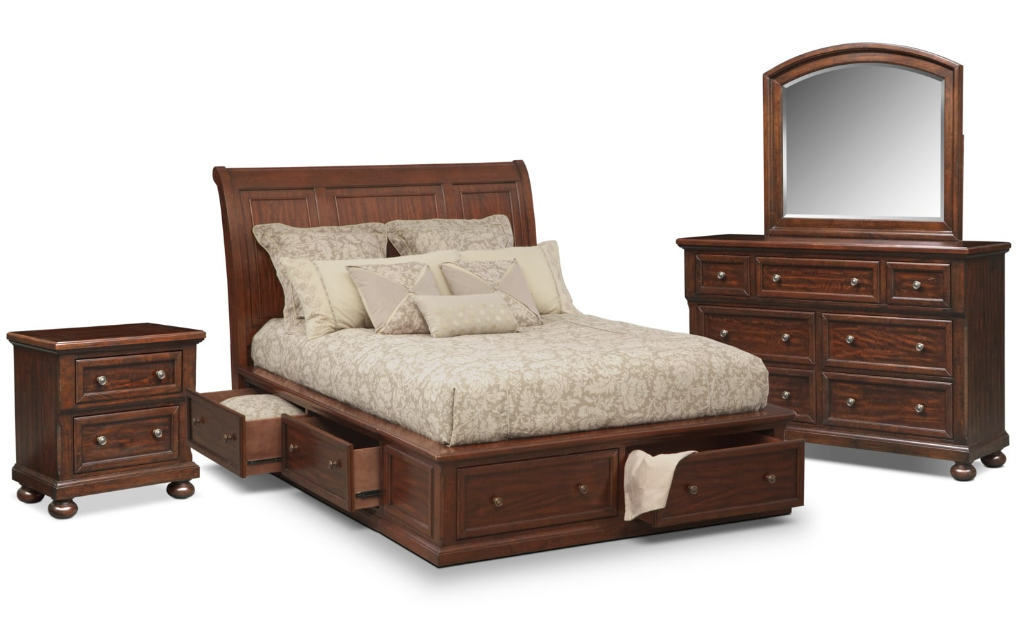The Hanover Storage Bedroom Collection Cherry American Signature Furniture