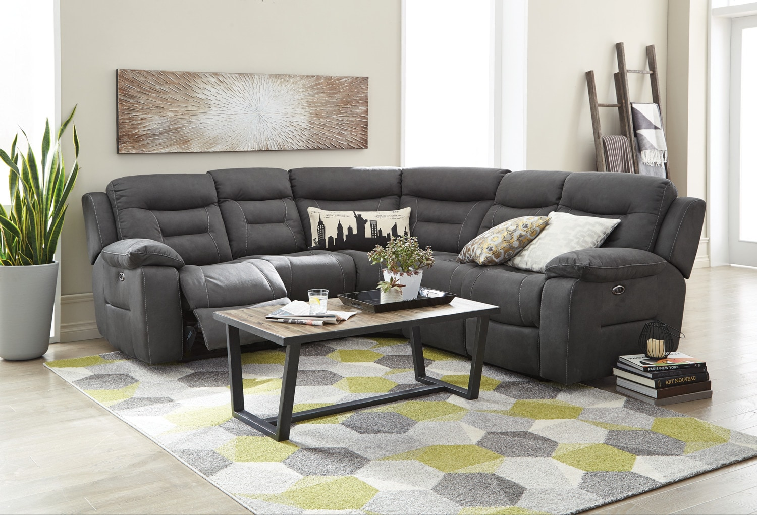 Charlotte 3 Piece Power Reclining Sectional Dark Grey