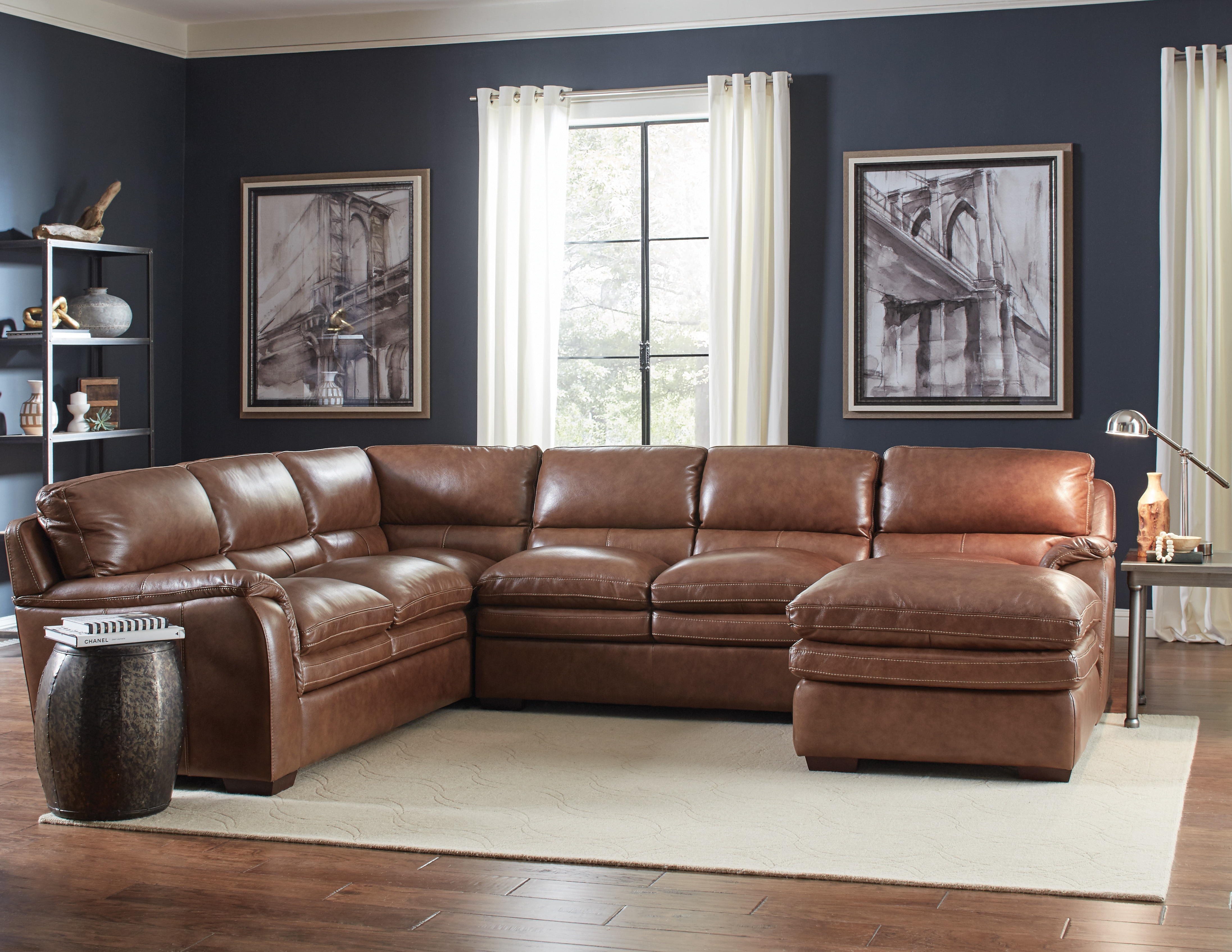 Living Room Furniture - Merdian 3 pc Leather Sectional