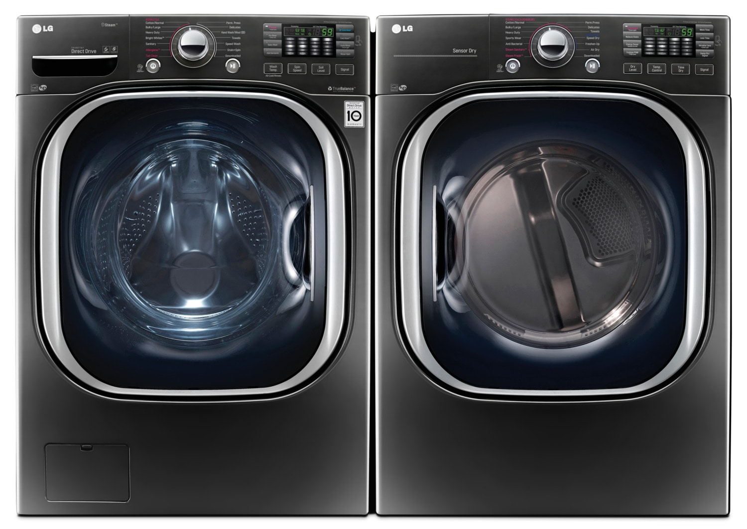 LG 5.2 Cu. Ft. Front-Load Washer and 7.4 Cu. Ft. Electric Dryer with TurboSteam™