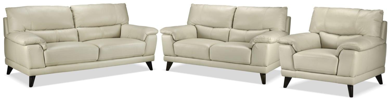 Braylon Sofa, Loveseat and Chair Set - Silver Grey