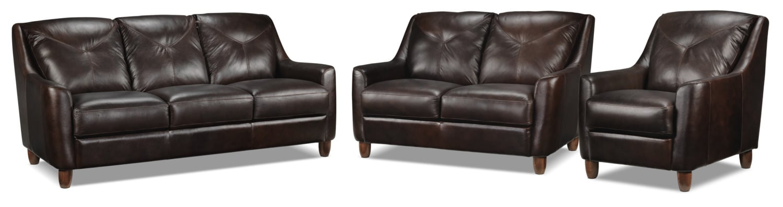 Matteo Sofa, Loveseat and Chair Set - Walnut