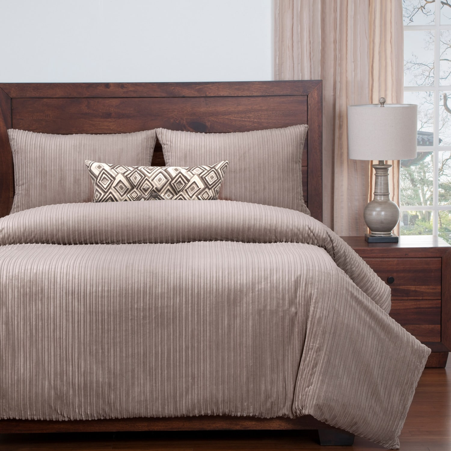 Downy Taupe 4-Piece Full Duvet Cover Set