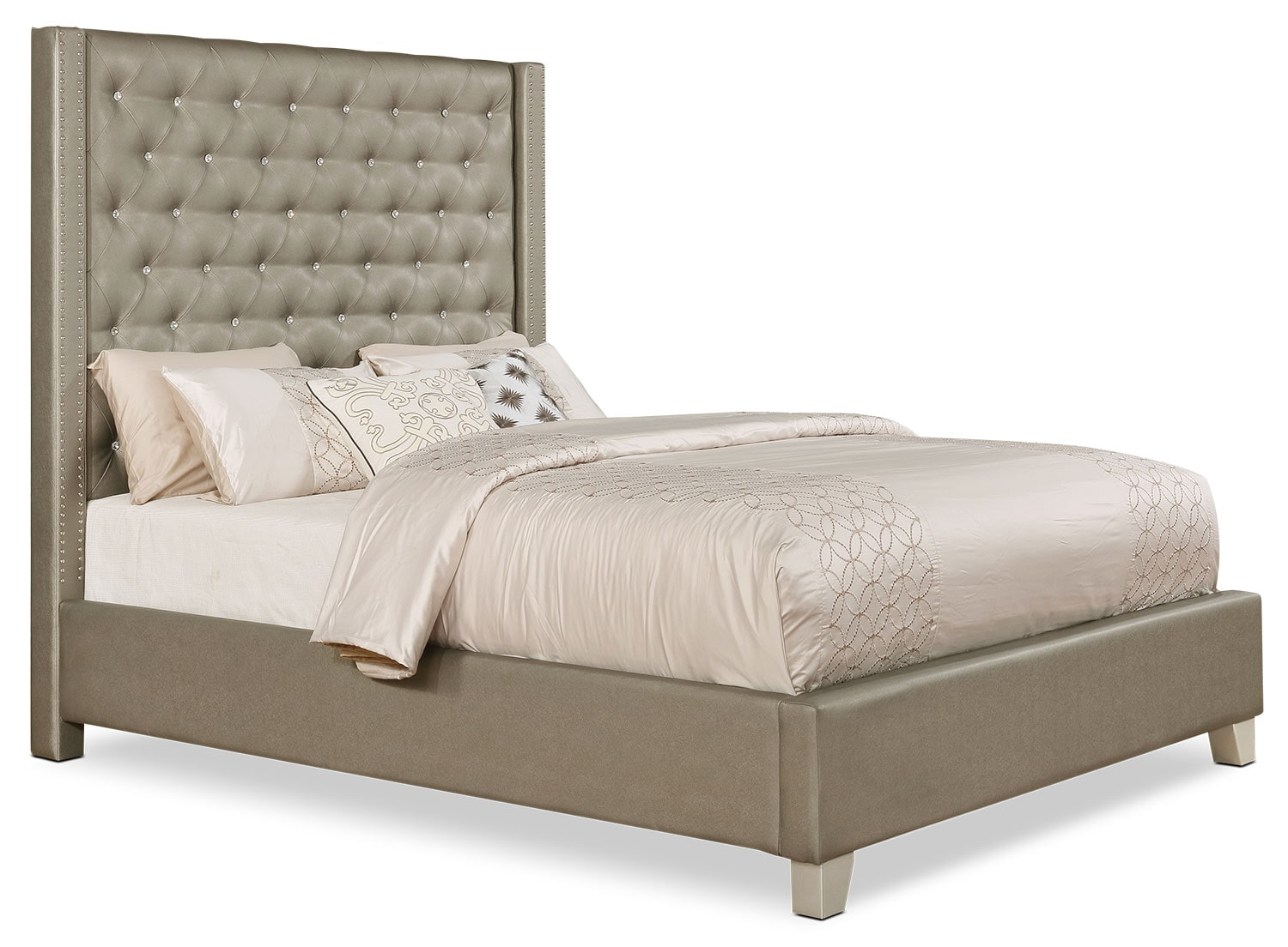 Diva faux leather queen bed the brick for Leather bedroom furniture
