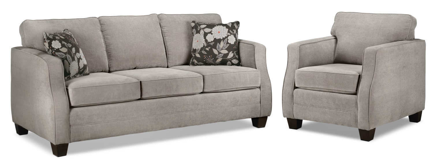 Agnes Sofa and Chair Set - Taupe