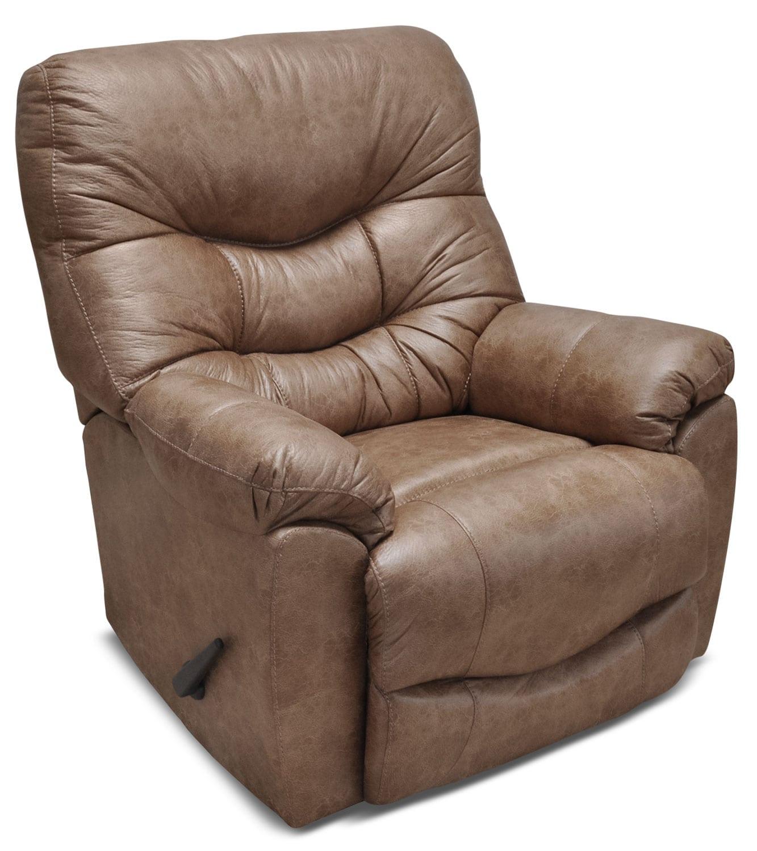 Mobilier de salle de séjour - Fauteuil berçant inclinable 4595 en tissu d'apparence cuir - chameau