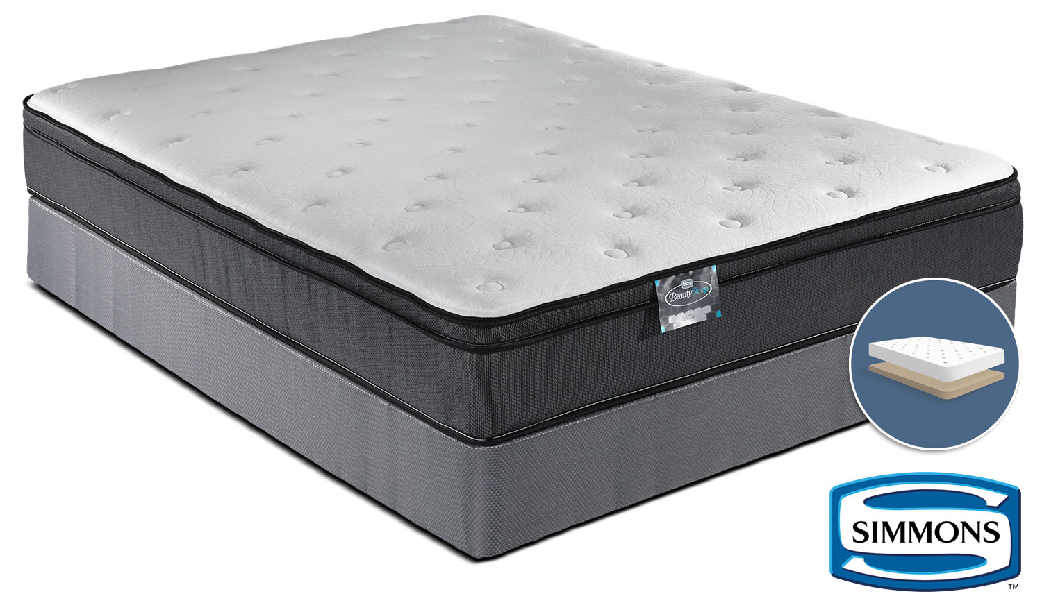 Simmons BeautySleep Jenna Firm Queen Mattress and Low-Profile Boxspring Set
