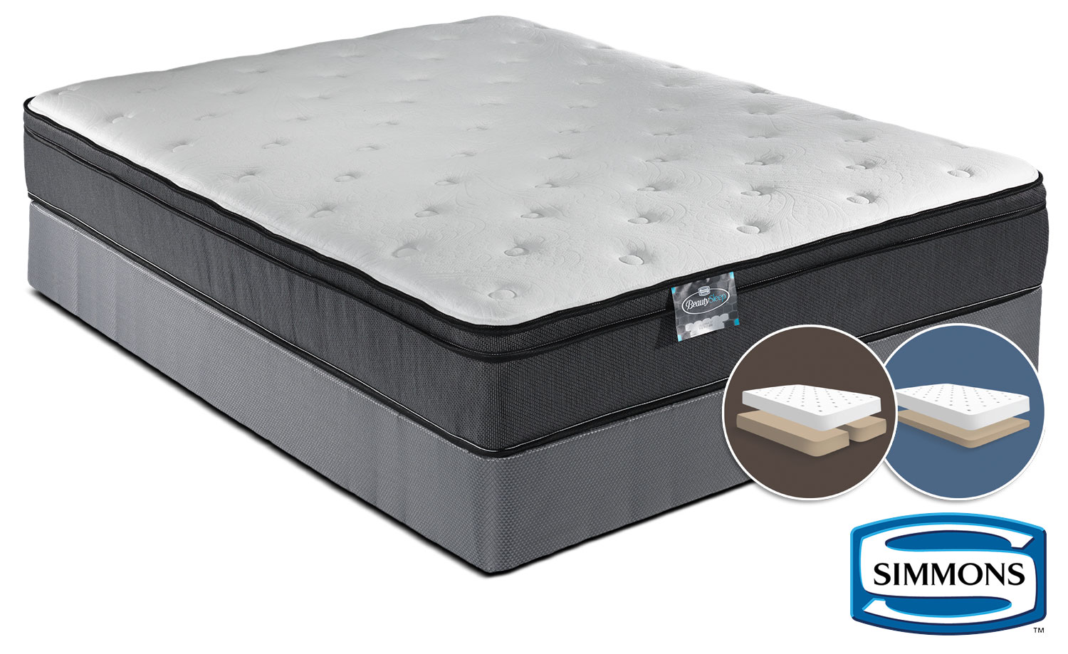 Simmons BeautySleep Jenna Firm King Mattress and Split Low-Profile Boxspring Set
