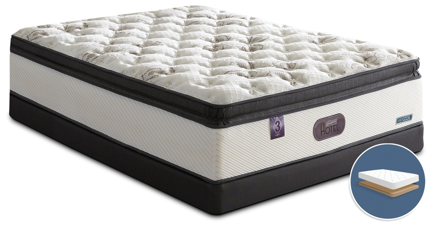 Mattresses and Bedding - Beautyrest® Hotel Diamond 3 Hi-Loft Pillow-Top Firm Low-Profile Queen Mattress Set