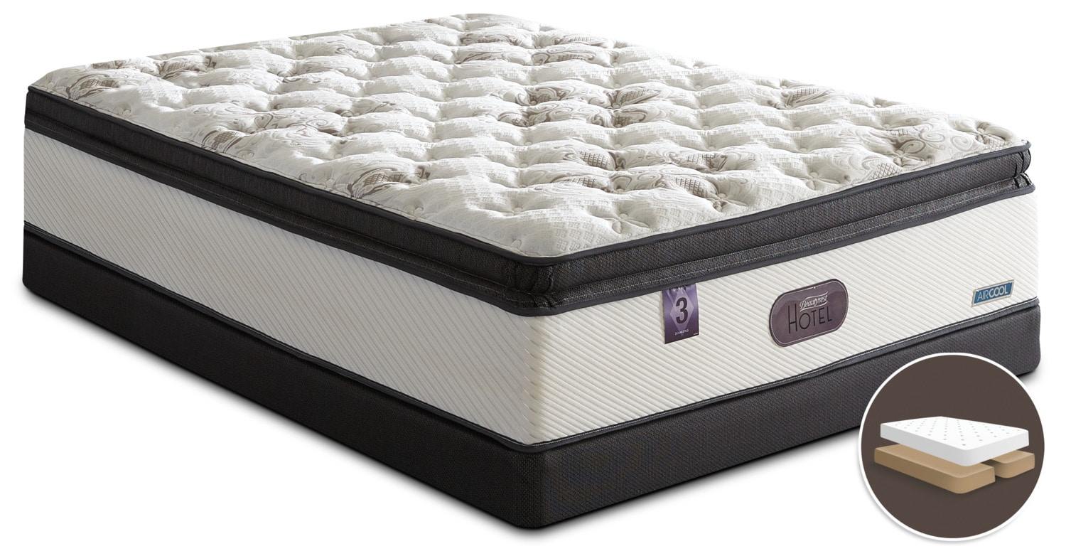 Mattresses and Bedding - Beautyrest® Hotel Diamond 3 Hi-Loft Pillow-Top Firm Low-Profile Split Queen Mattress Set