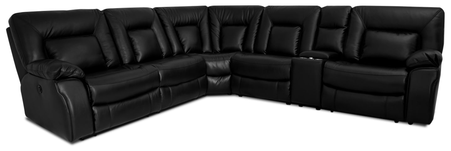 Dale 6-Piece Leather-Look Power Reclining Sectional – Black