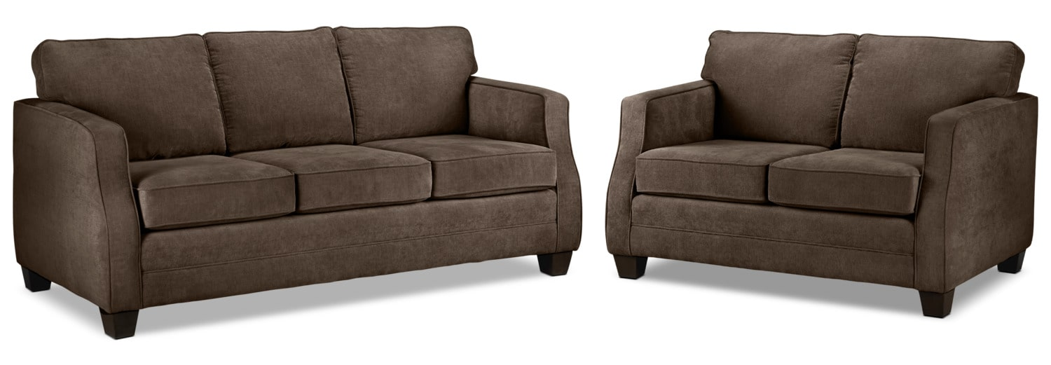 Agnes Sofa and Loveseat Set - Chocolate