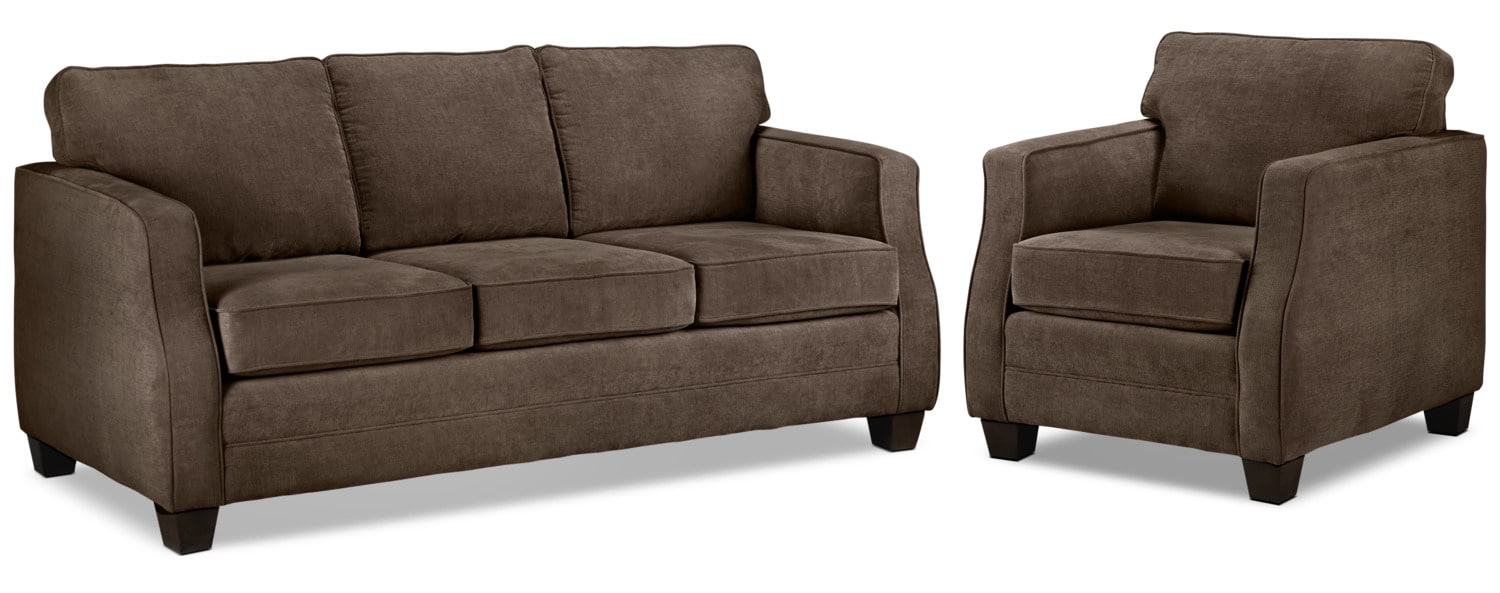 Agnes Sofa and Chair Set - Chocolate
