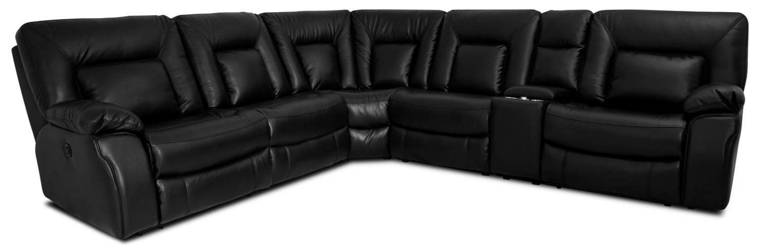Living Room Furniture - Dale 6-Piece Leather-Look Power Reclining Sectional – Black