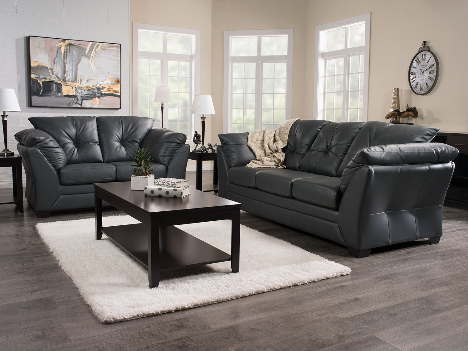 Max faux leather full size sofa bed grey the brick - What size couch for my living room ...