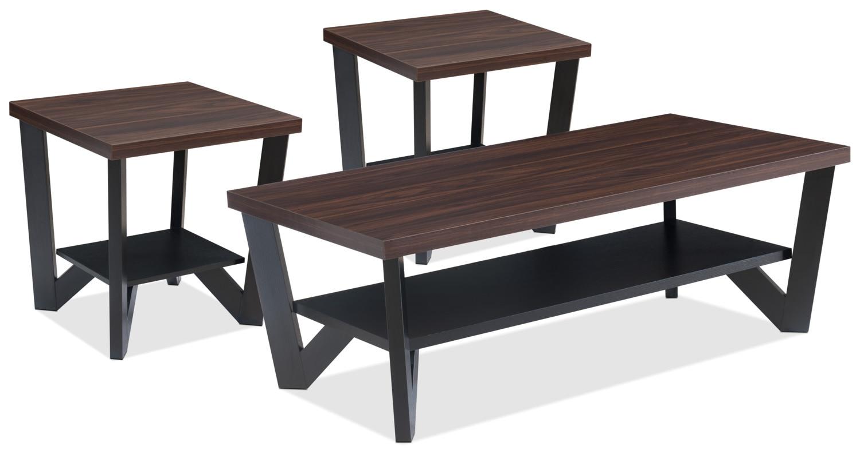 Décoratif et Occasionnel - Ensemble table à café et deux tables de bout Arika 3 pièces - noir