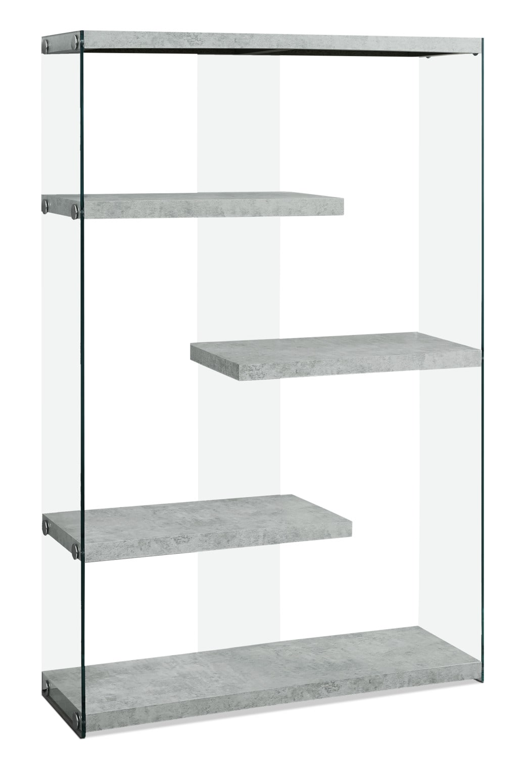 Yonah Wide Bookcase – Cement Grey