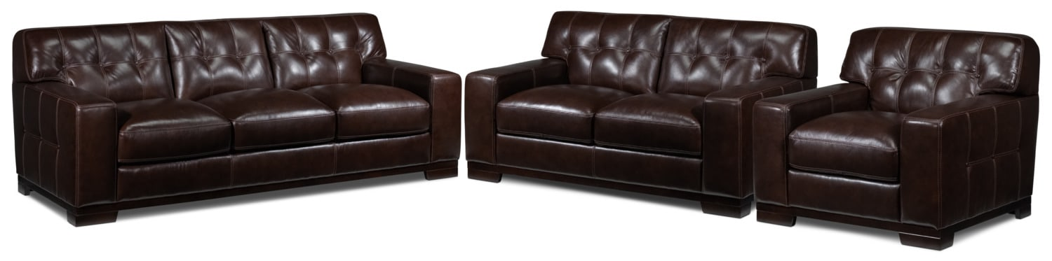 Thornton Sofa, Loveseat and Chair Set - Walnut