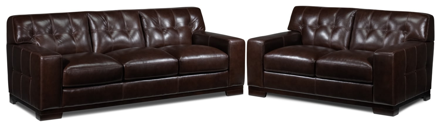 Thornton Sofa and Loveseat Set - Walnut