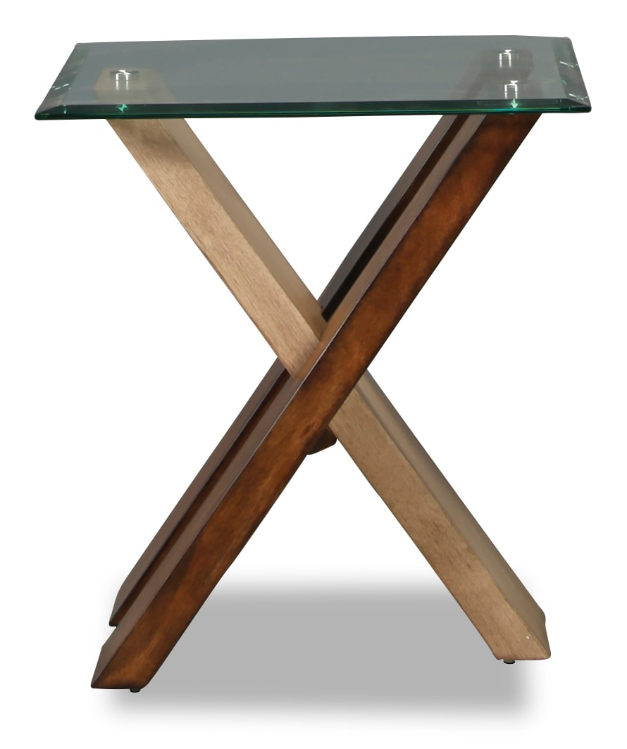 Perspective Glass Top End Table
