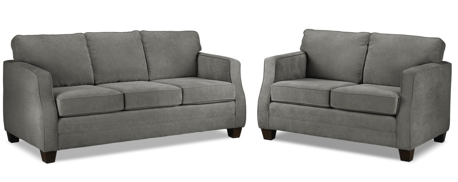 Agnes Sofa and Loveseat Set - Slate