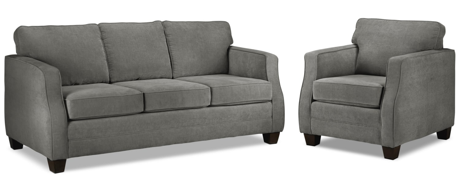 Agnes Sofa and Chair Set - Slate