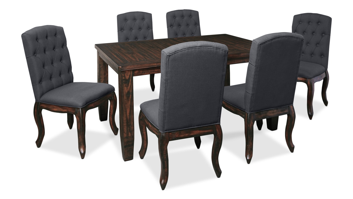 Dining Room Furniture - Trudell 7-Piece Dining Package with Upholstered Chairs
