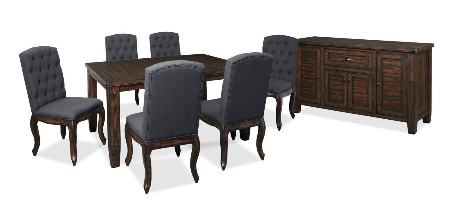 Dining Room Furniture - Trudell 8-Piece Dining Package with Upholstered Chairs